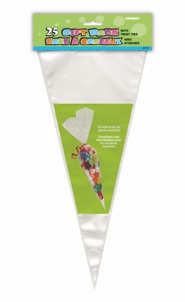 Clear Cone Shaped Cellophane Bags (25)